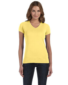 Ladies  5.8 oz. 1x1 Baby Rib V-Neck T-Shirt
