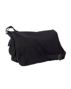 14 oz. Pigment-Dyed Raw-Edge Messenger Bag