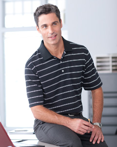 Men's  High Twist Cotton Tech Stripe Polo