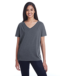 Ladies' Triblend Fleck Short-Sleeve Flowy V-Neck Tee