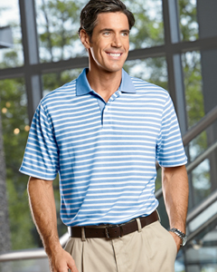 Men's  Dua`Tone Pique Stripe Polo