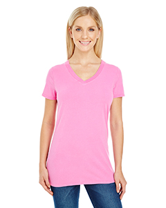 Ladies' Pigment Dye Short-Sleeve V-Neck Tee