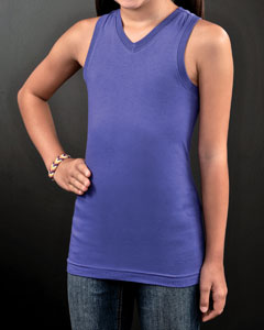 Girls Fine Jersey V-Neck Racer Back Longer Length Tank