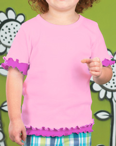 Toddler Baby Rib Double Ruffle Tee