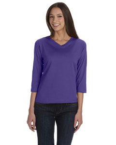 Ladies  Combed Ringspun V-Neck 3/4-Sleeve T-Shirt