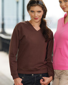 Ladies  French Terry V-Neck Pullover
