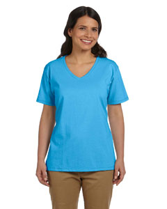 Ladies 5.2 oz. ComfortSoft® V-Neck Cotton T-Shirt