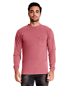 Adult Inspired Dye Long-Sleeve Crew with Pocket