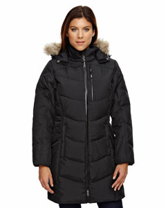 Borea`Ladies Down Jacket With Faux Fur Trim