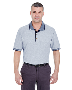 Adult Color-Body Classic Pique Polo with Contrast Multi-Stripe T