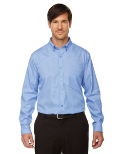 Echelon Men's Wrinkle Resist Cotton Blend Houndstooth Taped Shir