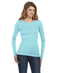 Ladies  4 oz. Sheer Rib Long-Sleeve Crew