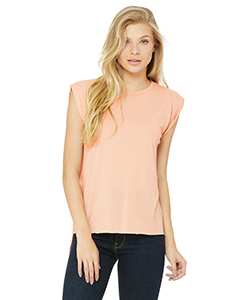 Ladies' Flowy Muscle T-Shirt with Rolled Cuff