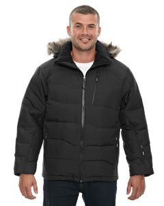 Borea`Men's Down Jacket With Faux Fur Trim