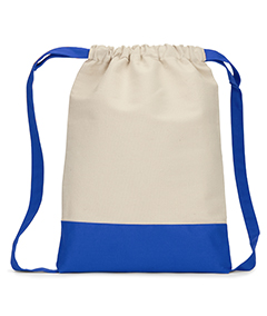 Contrast Bottom Cotton Canvas Drawstring Pack