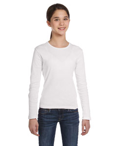 Girls  5.8 oz. 1x1 Baby Rib Long-Sleeve Crew Neck T-Shirt