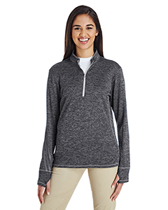 Ladies\' 3-Stripes Heather Quarter-Zip