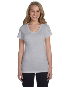 Ladies Baby Rib V-Neck
