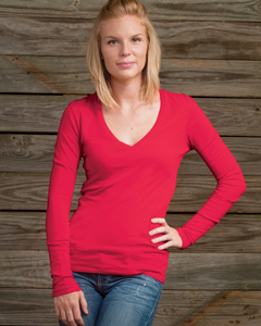 Ladies  3.5 oz. Long-Sleeve V-Neck