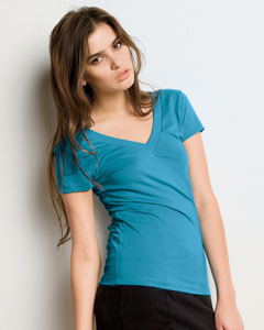 Ladies  3.2 oz. Double-V Sheer Jersey T-Shirt