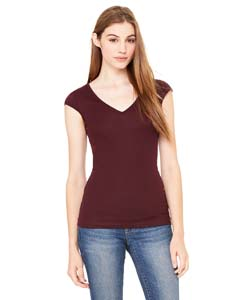 Ladies  4 oz. Sheer Rib Deep V-Neck