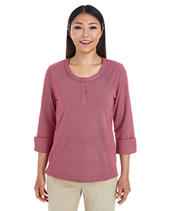 Ladies' Central Cotton Blend Melange Button Down