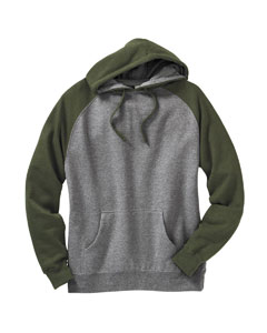 Men's Two Tone Raglan Pullover Hooded Sweatshirt