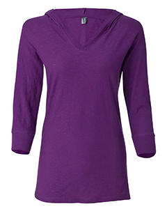 Ladies Three-Quarter Sleeve Slub Hooded Tee