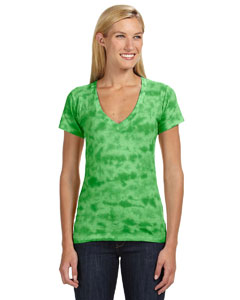 Ladies Tie Dyed Deep V-Neck Tee