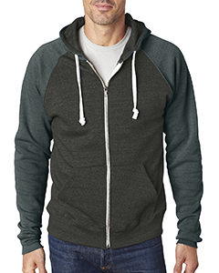 Adult Tri-Blend Color Block Full-Zip Hooded Fleece