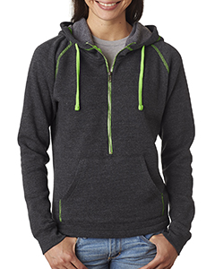Ladies' 1/2-Zip Tri-Blend Hooded Fleece