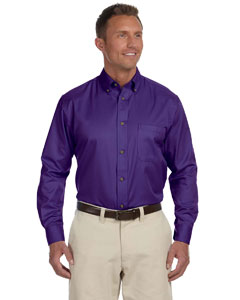 Men's  Long-Sleeve Twil`Shirt with Stain-Release