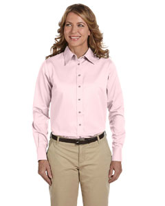 Ladies  Long-Sleeve Twil`Shirt with Stain-Release