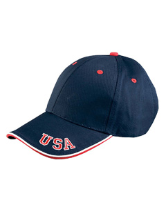 6-Pane`Mid-Profile Cap with USA Embroidery