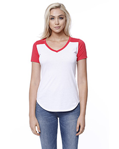 Ladies' CVC Varsity V-Neck T-Shirt
