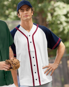6.7 oz. Contrasting Raglan Sleeve Button-Front Basebal`Jersey