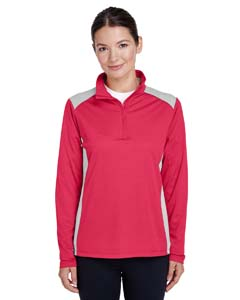 Ladies Exce`Melange Interlock Performance Quarter-Zip Top